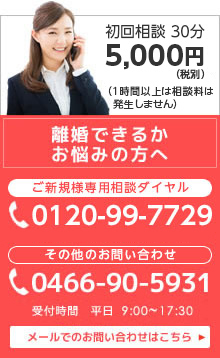 離婚できるかお悩みの方へ 0466-905-931 メールでのお問い合わせはこちら